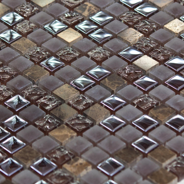 Mosaïque pierre et verre marron Caramel Color - Capri