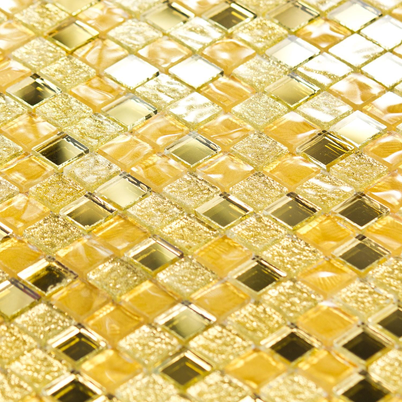 Mosaïque pâte de verre dorée miroir Luxe Or - Capri