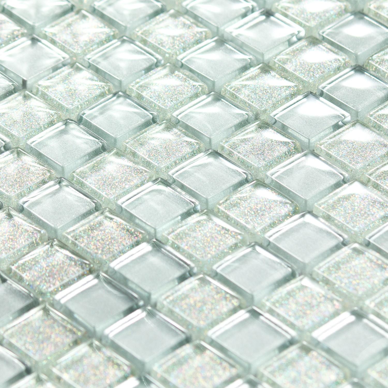 Mosaique Pate De Verre Argentee Paillette Luxe Silver Capri