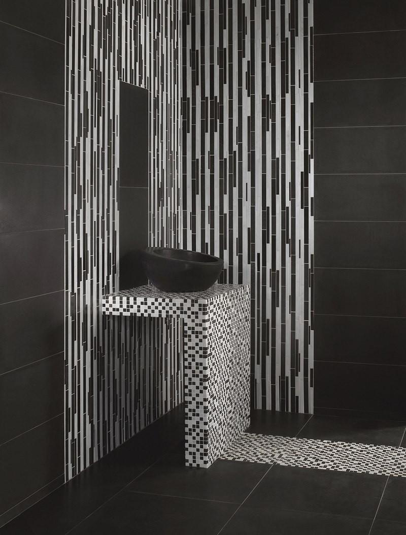 Carrelage Blanc Joint Noir mosaïque pierre naturelle noir et blanc bicolor - capri