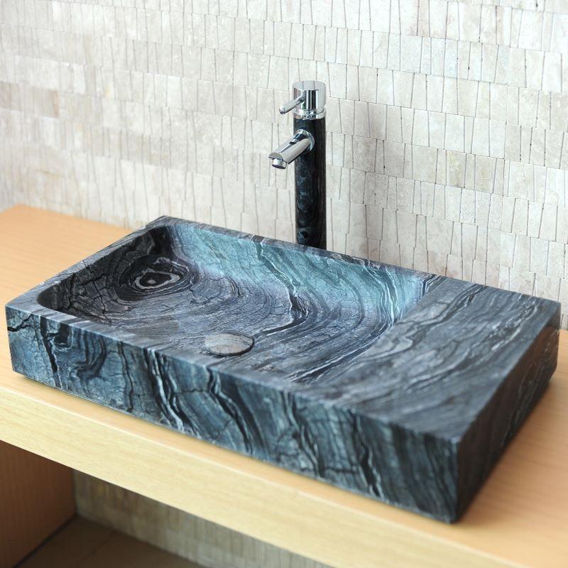 Vasque En Pierre Naturelle Grise Rectangulaire Eviane 70x38 Capri