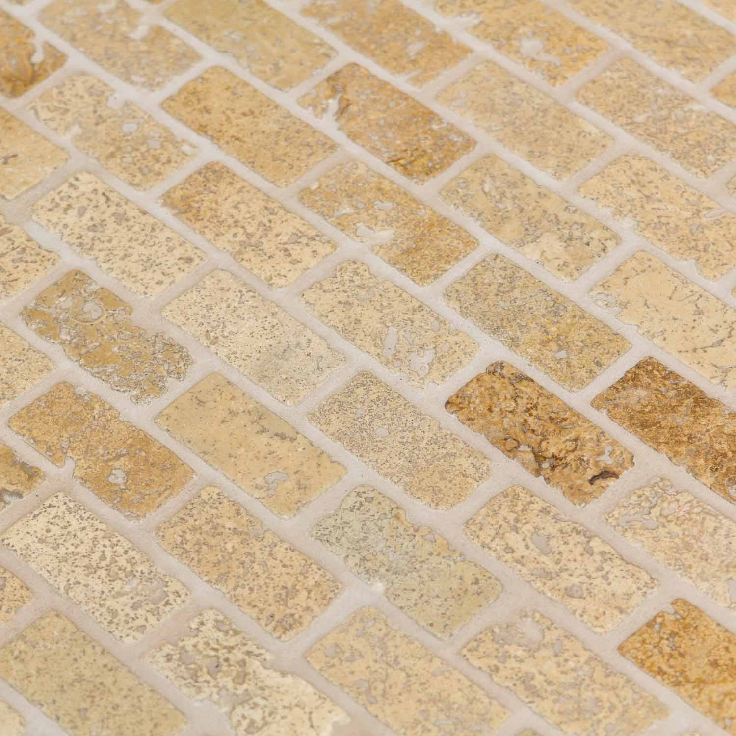 Mosaïque travertin mix noisette lamelles