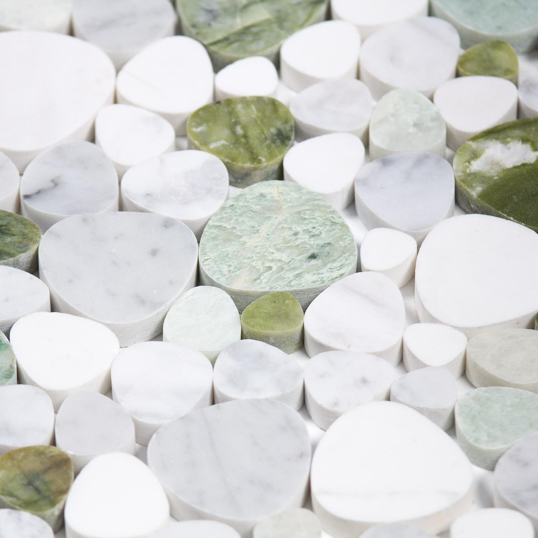 Mosaïque galets Marbre blanche verte