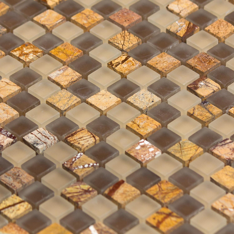 Mosaïque pierre et verre  marron