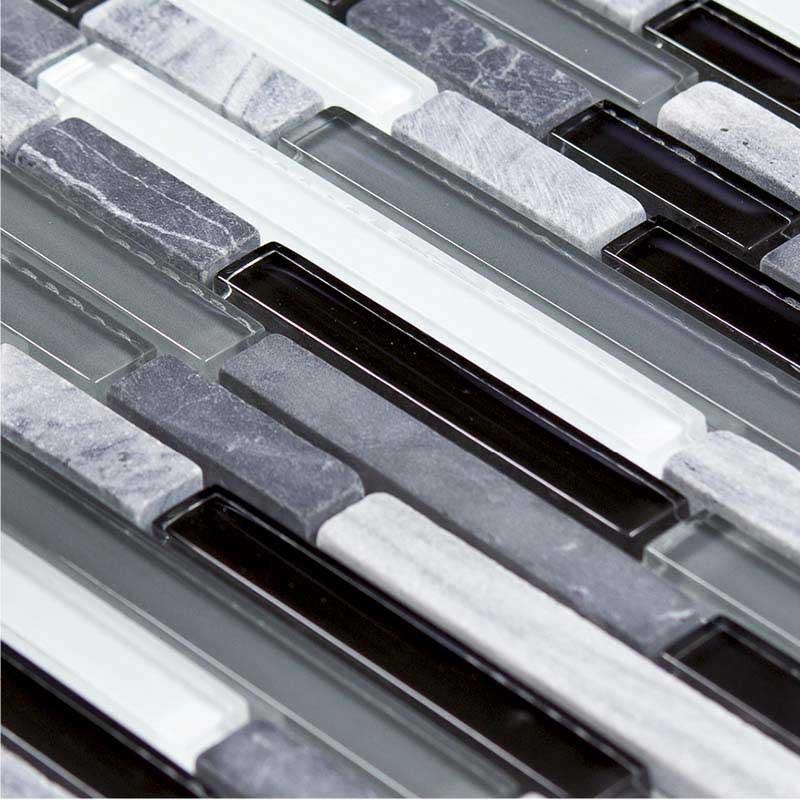 Mosaïque marbre et verre lamelles Dark Line