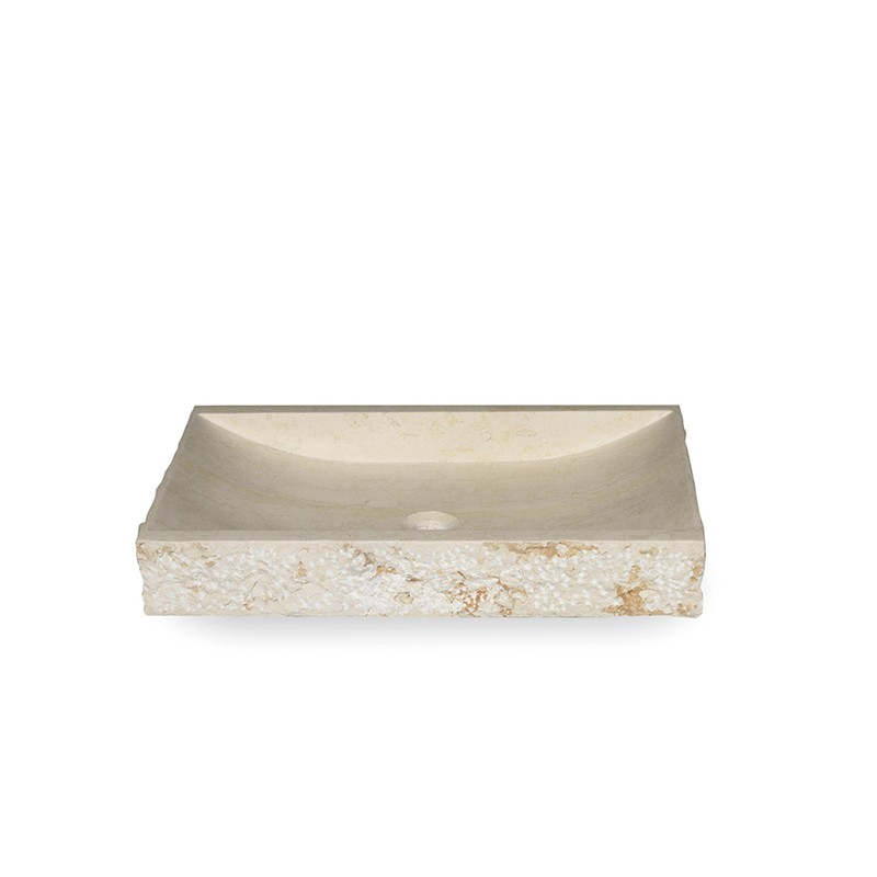 Vasque à poser rectangulaire - Pierre Naturelle Blanche
