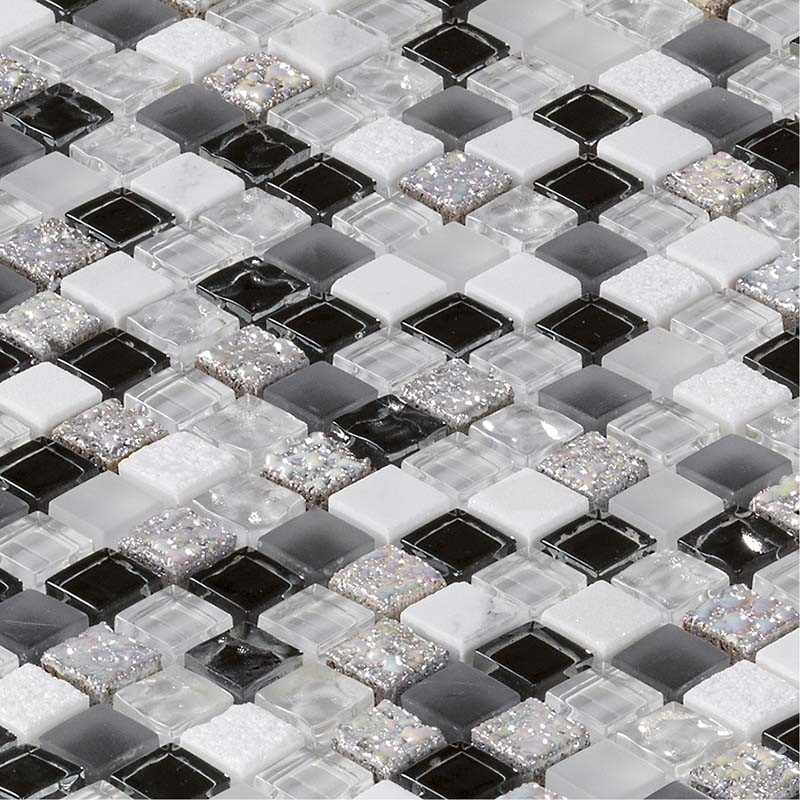 Mosaïque Carrelage Marbre et verre Glacier Black & white