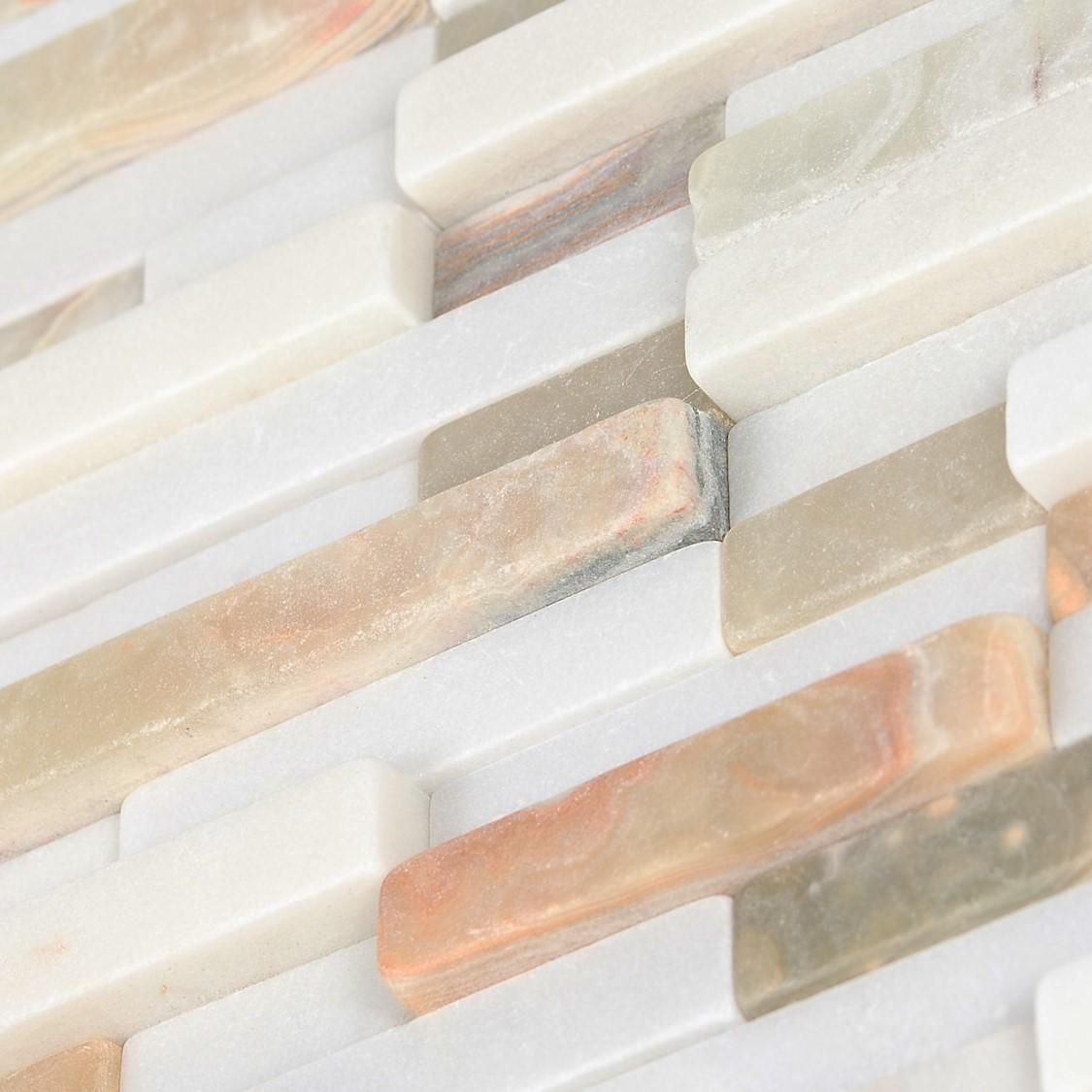 Mosaïque marbre blanche verte orange