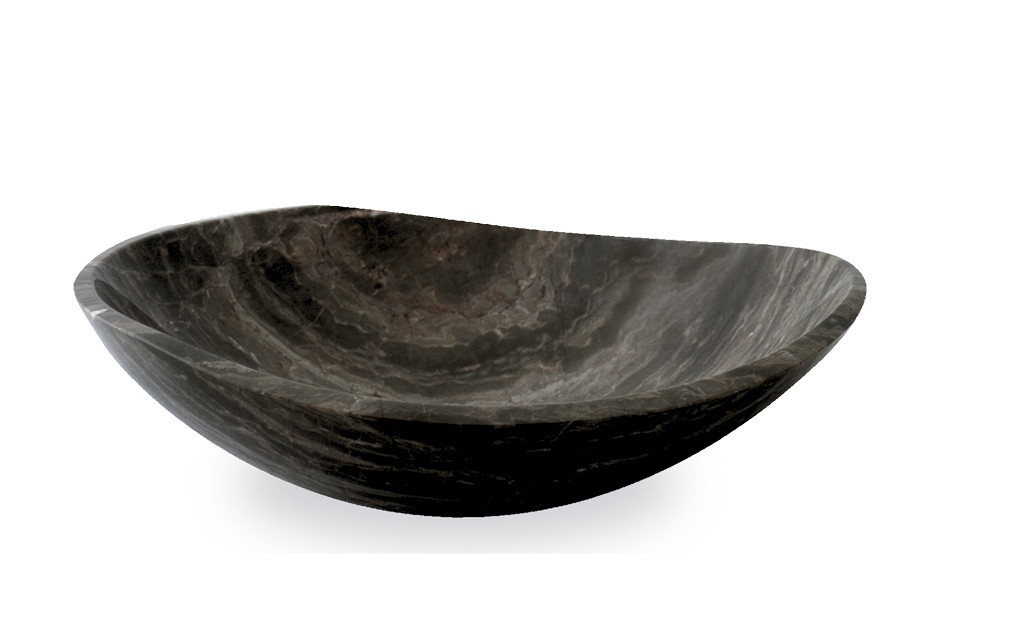 Vasque salle de bain ovale - Pierre Naturelle Marron