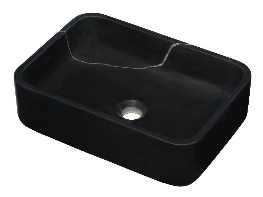 Vasque rectangulaire à poser - Marbre noir