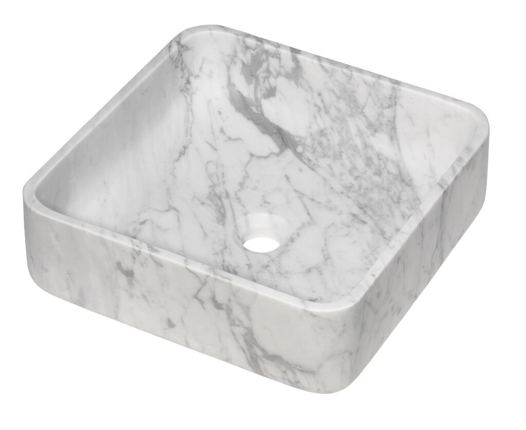 Vasque carrée à poser - Marbre blanc
