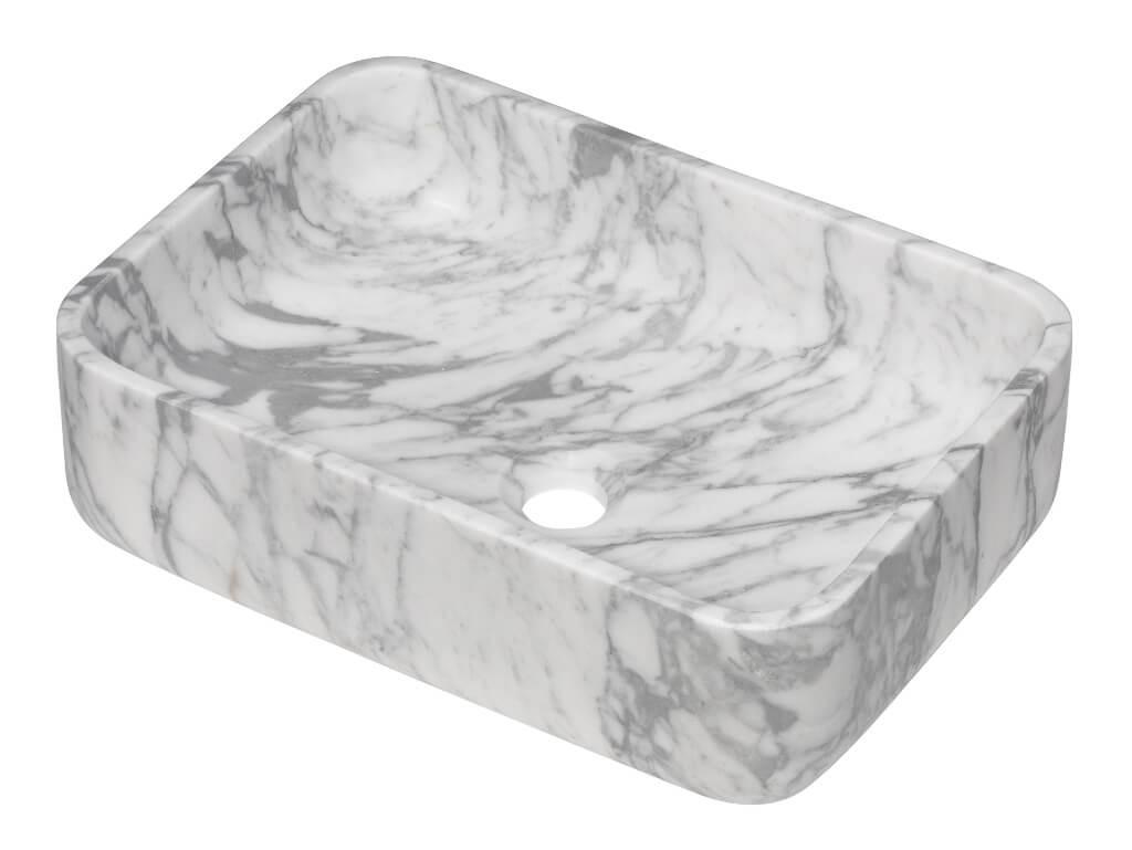 Vasque rectangulaire à poser - Marbre blanc