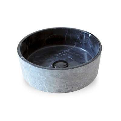 Vasque ronde Pierre Naturelle Noir