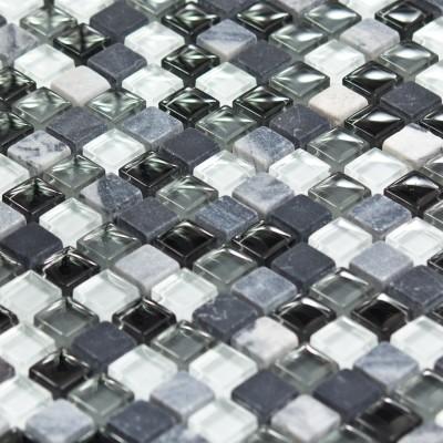 Mosaïque marbre et verre noire grise blanche