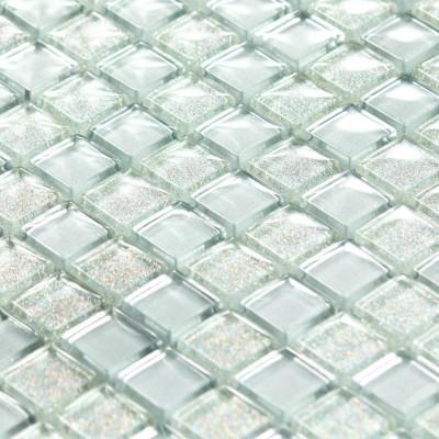 Mosaïque en verre argenté paillettes