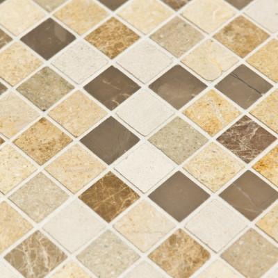 Mosaïque Marbre salle de bain beige marron grise