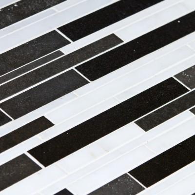 Mosaïque pierre noire et blanche