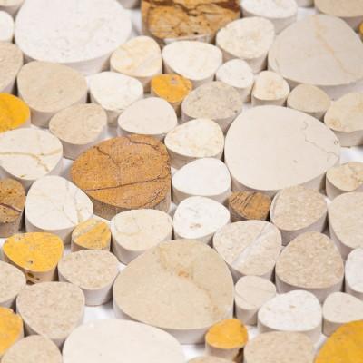 Mosaïque pierre galets blanche marron