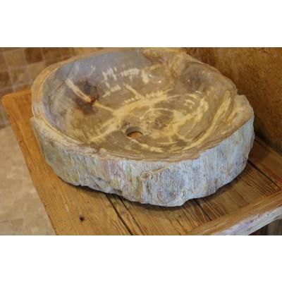 Vasque beige bois fossilisé
