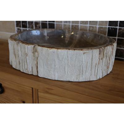 Vasque ronde en bois fossilisé 3