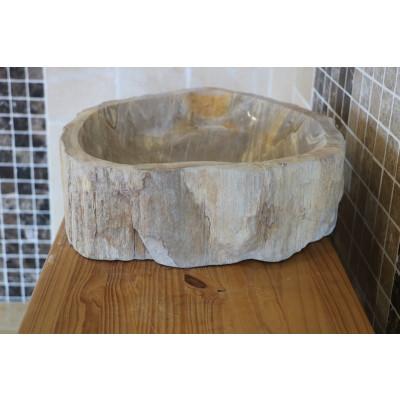 Vasque ronde en bois fossilisé 4
