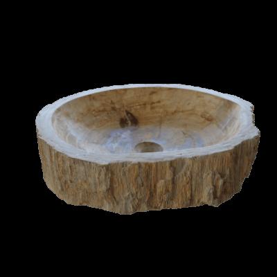 Vasque ronde en bois fossilisé 8