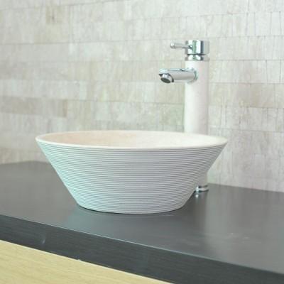 Vasque à poser ronde - Pierre Naturelle Blanc