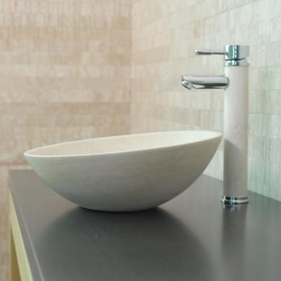Vasque calcaire beige salle de bain