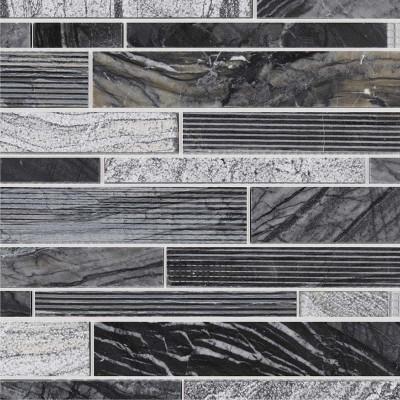 Mosaïque lamelles marbre Grey Wood