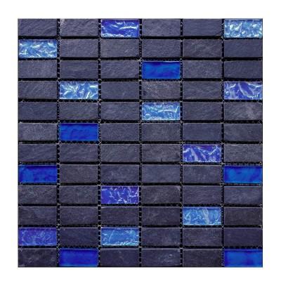 Mosaïque ardoise et verre bleue