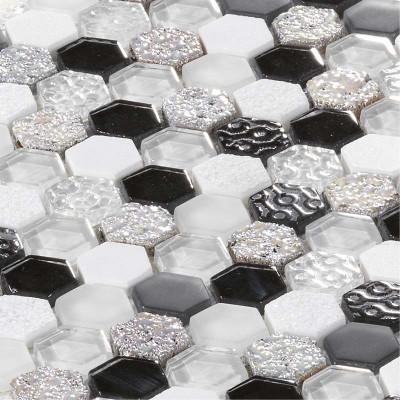 Mosaïque Pierre et Verre Hexagonale blanche et noire