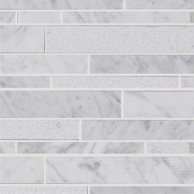 Mosaïque lamelles marbre white