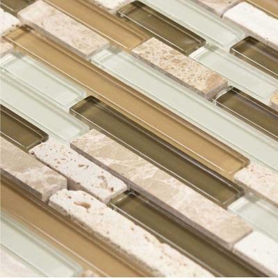 mosaique carrelage marbre et verre olive line