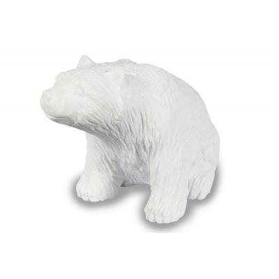Sculpture ours en marbre blanc