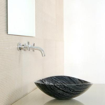 Vasque à poser ovale pierre naturelle gris