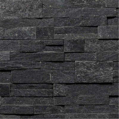 Parement Pierre Quartzite Noir Brillant