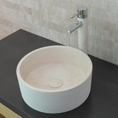 Vasque ronde Pierre Blanche