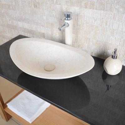 Vasque ovale Zara - Calcaire beige