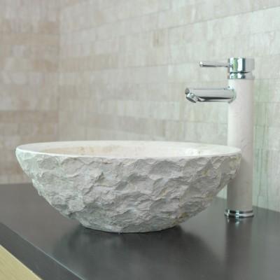 Vasque à poser salle de bain calcaire beige