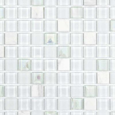 Mosaïque pierre et verre blanche verte bleue
