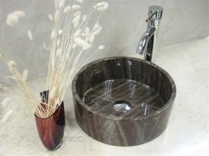 Vasque ronde marbre brun Calou